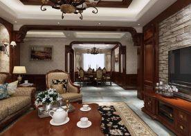 西安万科城市之光三居室美式风格家庭装修设计