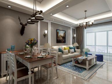 简美风格三房设计装修 简约美式风格装修效果图