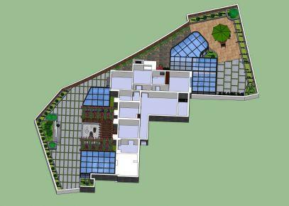 露台花园装修设计 现代风格阳光房花园装修