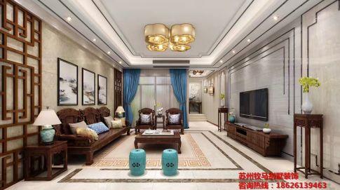 观湖名苑 新中式风格别墅装修设计效果图欣赏