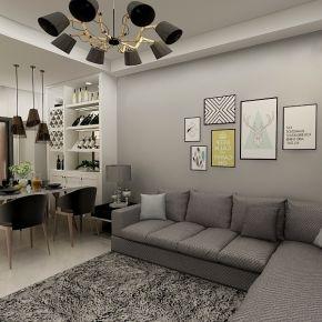 白云花园现代风格三居室装修案例