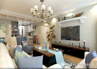 青岛和达城上城美式风格装修设计 美式风格三房装修效果图