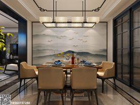 济南棋盘小区三居室装修  中式风格家庭装修效果图