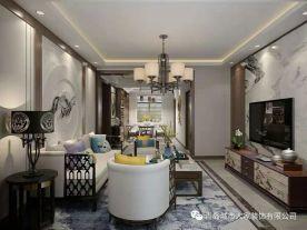 青岛都市果岭三居室装修 中式风格家庭装修效果图