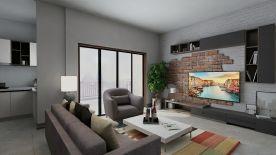 万达小区现代三居室装修设计案例