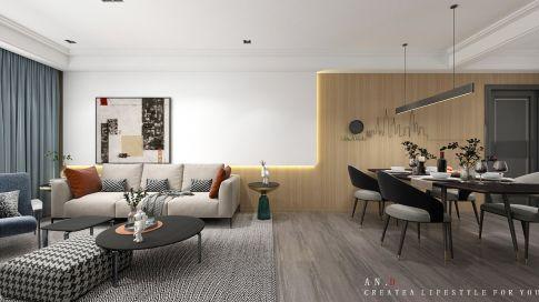 星河国际轻奢三居室装修效果图