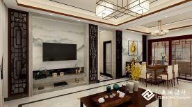 祈福新村中式风格三居室装修效果图赏析
