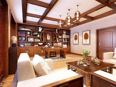 漳州水云天三居室新中式装修效果图 中式风格三居室装修案例