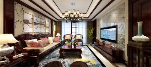 杭州中式风格三居室效果图