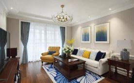 咸阳林凯城110平美式三居室装修案例 简约美式三居室装修效果图