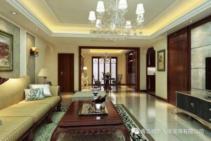 青岛金陵美地中式风格四居室装修效果图