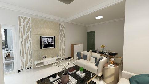 广州云景家园现代风格三居室装修效果图