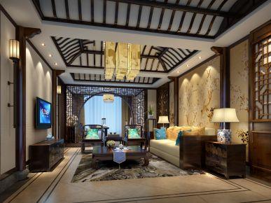 常州新中式风格四居室装修效果图