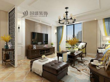 绍兴信达银郡美式风格三居室装修效果图