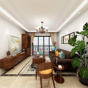 中山市远洋珑郡创意混搭三居室装修案例,大胆玩色也能优雅!