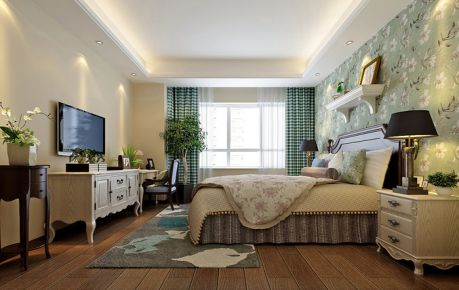 西安正荣彩虹馆美式三居室装修案例 美式风格三居室装修效果图