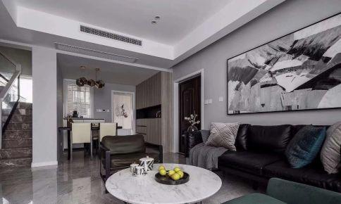 海口黑白灰现代风格三居室装修效果图