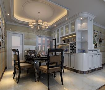 佛山保利中央公馆中式古典风格三居室装修效果图