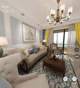 绍兴美式风格三居室装修效果图