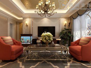 济南华润中央公园美式风格三居室装修案例