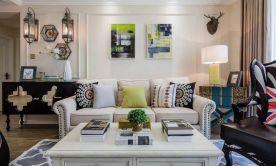 咸阳美式风格两居室装修案例 彩色点缀温馨质感
