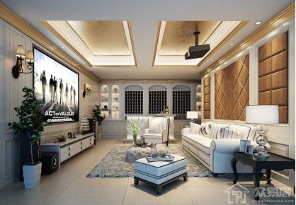 烟台欧式风格三居室装修效果图