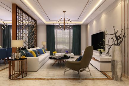 青岛天意华苑220㎡新中式复式,舒适稳重,悠闲之家