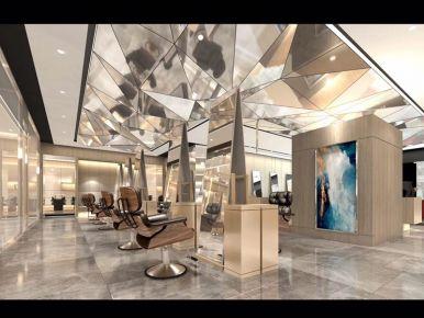长沙市万达广场商场二楼理发店装修效果图