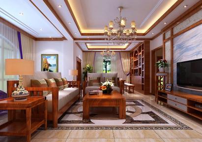 昆明中式风格四居室装修效果图