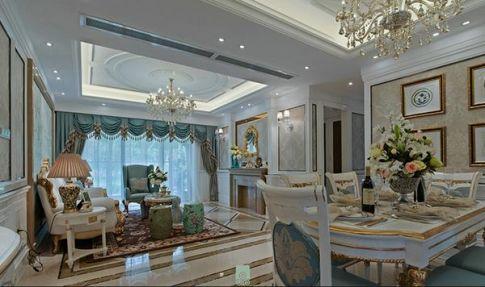 中山中澳滨河湾欧式四居室装修,客餐厅很宽敞,色调很北欧!
