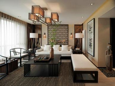 中山天明御华庭新中式风四居室装修案例,诗意典雅,轻奢大气!