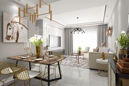 成都88m²现代风格三居室装修效果图