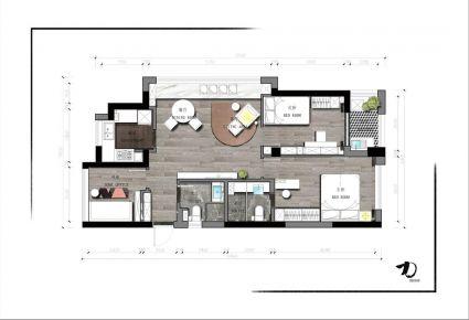 大连简约风格两居室装修效果图
