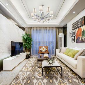 乐山现代风格三居室装修效果图