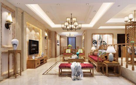 厦门中式风格三居室装修效果图