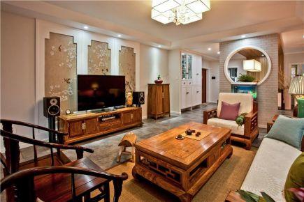 六安现代中式风格三居室装修效果图