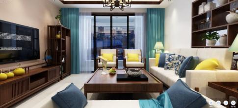 海口中式风格三居室装修效果图