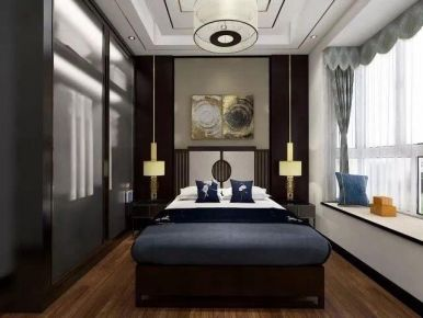 广州中式风格两居室装修效果图