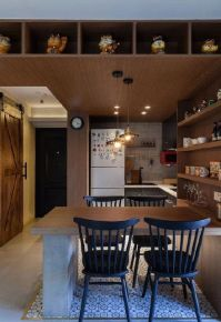 郑州复古风格两居室装修效果图