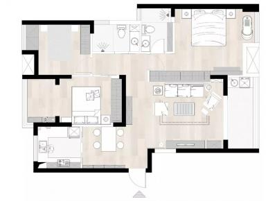 福州128㎡三室两厅甜蜜婚房效果图