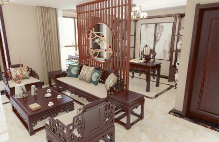 廊坊华夏铂宫新中式风格三居室装修效果图欣赏,简约贵气