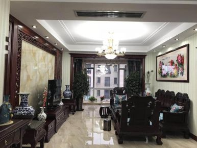 大连保亿丽景山中式风格三居室装修案例