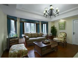 西宁山水佳苑美式风格二居室装修案例