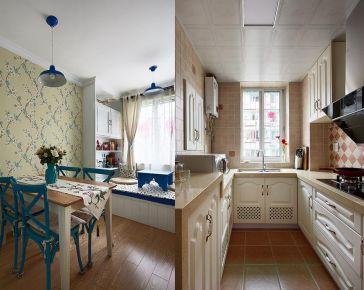 西宁怡景苑地中海风格两居室装修效果图,打造小夫妻蓝色情调!