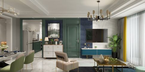 南京白马澜山现代轻奢风格三居室装修案例,一家的温暖港湾