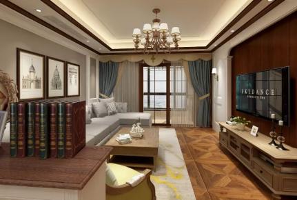 东莞半岛豪庭美式风格三居室装修效果图