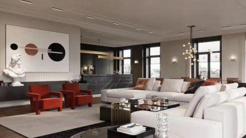 无锡大户型装修定制 现代奢华四居室装修设计案例