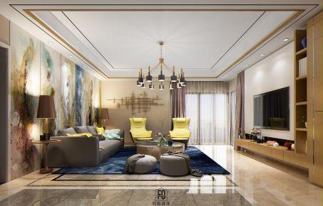 广州自由人花园清爽简约混搭四居室装修,客厅边上的休息室好特别~