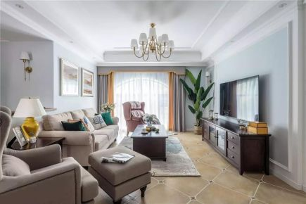 苏州保利·独墅西岸185㎡轻奢美式4室2厅装修效果图