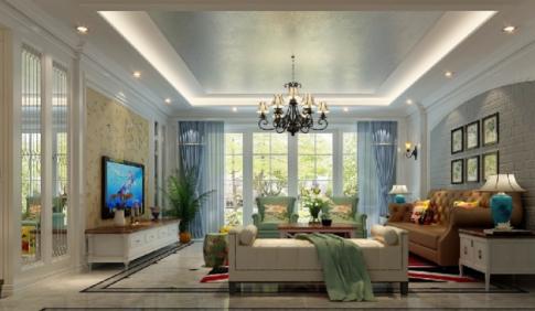 泉州160㎡美式复式楼装修案例,客厅吊顶很是精致迷人!